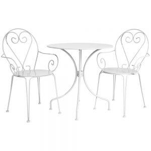 Franse Bistroset wit (2 stoelen met 1 tafel)