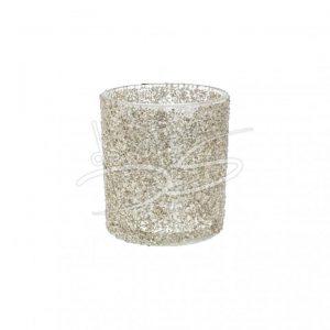 Glitter theelichthouder glas