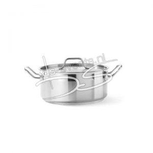 Kookpan met deksel laag 160×75 mm, 1,5 l rvs