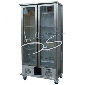 Staande 2-deurs glasdeur koelkast Gamko 500Liter, in rvs frame