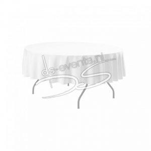 Tafelkleed Katoen met satijnband wit 130x130cm