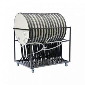 Transportkar met 12 grijzen sta-, hangtafels